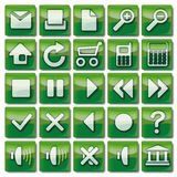 Icone verdi di web 1-25 Fotografia Stock Libera da Diritti