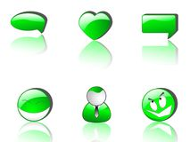 Icone verdi di Web   Fotografie Stock