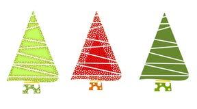 Icone verdi e rosse dell'albero di Natale Fotografia Stock Libera da Diritti