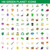 100 icone verdi messe, stile del pianeta del fumetto Immagini Stock