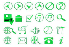 Icone verdi per il sito Fotografia Stock Libera da Diritti