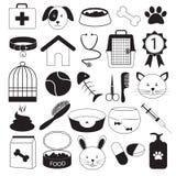 Icone veterinarie dell'animale domestico e della clinica messe Fotografie Stock Libere da Diritti