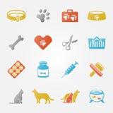 Icone veterinarie luminose di vettore dell'animale domestico messe Fotografia Stock Libera da Diritti