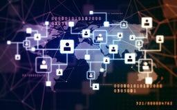 Icone virtuali della rete sociale sopra la mappa di mondo immagine stock libera da diritti