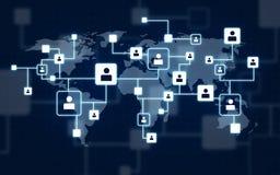 Icone virtuali della rete sociale sopra la mappa di mondo fotografia stock libera da diritti