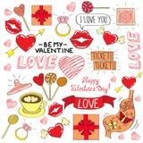 Icones da cor do dia de Valentim ajustados Fotografia de Stock