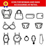 Iconic Accessories Man and Woman for retail selling area Sign. Simple Vector Iconic Accessories Man and Woman for retail selling area Sign Royalty Free Stock Image