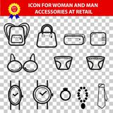 Iconic Accessories Man and Woman for retail selling area, at Transparent Effect Background. Simple Vector Iconic Accessories Man and Woman for retail selling Stock Photos