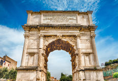 The iconic Arch of Titus in the Roman Forum, Rome Royalty Free Stock Photography