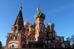 Iconic architecture of the beautiful Saint Basil`s Cathedral on royalty free stock image