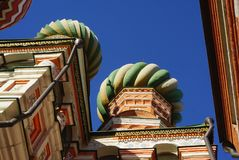 Iconic architecture of the beautiful Saint Basil`s Cathedral on stock photography