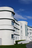 Iconic art deco Midland Hotel Morecambe Lancashire. View of the front (part) of the iconic art deco style Midland Hotel on the seafront in Morecambe that was Stock Photography
