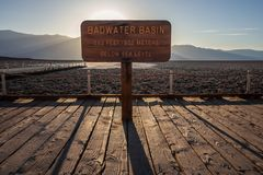 The iconic Badwater Basin sign stock photo