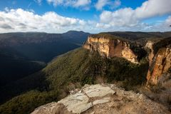 The Iconic Baltzer lookout and Hanging Rock at Blackheath New So stock photo
