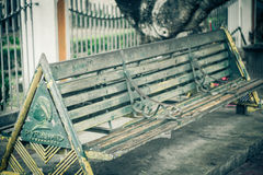 A iconic bench green steel and wood at jogja yogyakarta indonesia. Java Stock Photography