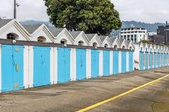 Iconic blåa fartygskjul i Wellington New Zealand royaltyfri foto