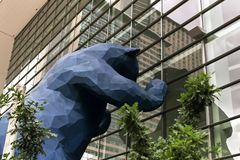 Huge Blue Bear at the Colorado Convention Center. Iconic blue bear sculpture, `I see what you mean` at the Colorado Convention Center, in Denver, Colorado royalty free stock image