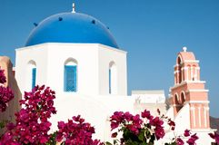 Iconic blue domed church in Fira, Santorini Royalty Free Stock Photo