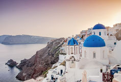 Iconic blue domed church in Fira, Santorini, Greece Stock Images