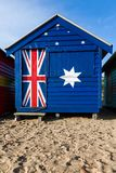 An iconic Brighton beach hut painted in the Australian flag colo. Urs Royalty Free Stock Photo
