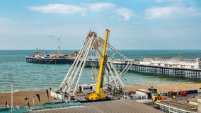 The iconic Brighton wheel being dismantled. View of the iconic Brighton wheel being dismantled Royalty Free Stock Image