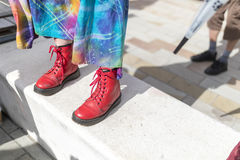 Iconic British fashion Dr Martens red boots Stock Photography