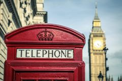 Iconic british old red telephone box Royalty Free Stock Images