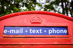 Iconic British red telephone box Stock Images