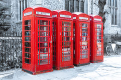 Iconic British Telecom telephone boxes Royalty Free Stock Image