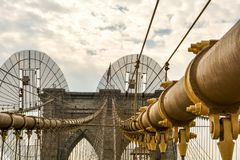 The iconic Brooklyn Bridge in New York stock photos