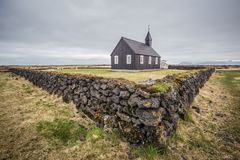 Iconic Budir church of Iceland. Photo taken of the iconic beautiful wooden black church of Budir in Iceland Royalty Free Stock Images