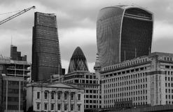 Iconic Buildings of London in monochrome, London, England, 2016 Royalty Free Stock Images
