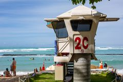 The iconic 2C lifeguard tower at Waikiki Beach Honolulu Hawaii o. N a sunny day on the 5th October 2018 royalty free stock photography