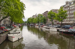 Iconic Canal Scenes from Amsterdam Royalty Free Stock Image