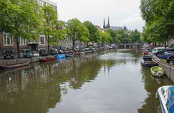 Iconic Canal Scenes from Amsterdam Royalty Free Stock Photos