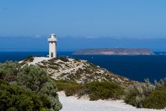 The iconic Cape Spencer lighthouse in Innes National Park on the stock photos