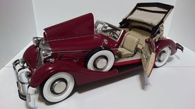 Horch 853 retro classic car top up opened bonnet and door - die-cast scale model. Iconic cars ancestors of the German car producer Audi - luxury miniature hobby stock image