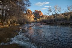 Iconic Cathedral Rock and Oak Creek, Sedona, Arizona stock photo