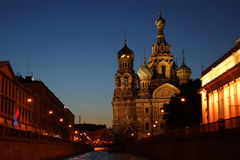 Iconic church of the Savior on blood on the side of the channel Stock Images