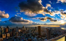 The Osaka Skyline under a Setting Sun stock image