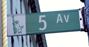 Iconic and classic NYC 5th Avenue Street Sign Manhattan, New York City Royalty Free Stock Photos