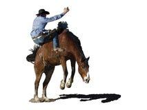 Iconic clipart av en fostra häst- och rodeocowboy stock illustrationer