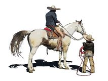 Iconic clipart of a little caballero and his Dad. Computer illustration of an outlined little cowboy with a lasso with his Dad on horseback on a white royalty free illustration