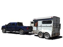 Free Iconic Clipart Of A Blue Pickup Pulling A White Horse Trailer Royalty Free Stock Photo - 147954935