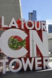 Iconic CN Tower Colored Sigh from Toronto in Ontario Province Canada. Iconic CN Tower Colored sign from Toronto in Ontario Province of Canada on 24th June 2017 Royalty Free Stock Photography