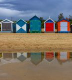 The iconic colorful beach huts on Brighton Beach in Melbourne Stock Photo