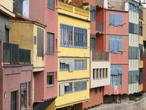 Iconic colourful houses of Girona. View on hotspot in city center of the city of Girona, Spain Stock Photos