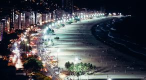 Iconic Copacabana beach, viewed from above, Rio de Janeiro, Brazil. Long exposure at night of iconic Copacabana beach, viewed from above, Rio de Janeiro, Brazil royalty free stock image
