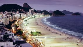 Iconic Copacabana beach, viewed from above, Rio de Janeiro, Brazil. Long exposure at night of iconic Copacabana beach, viewed from above, Rio de Janeiro, Brazil stock photography