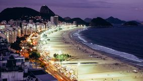 Iconic Copacabana beach, viewed from above, Rio de Janeiro, Brazil. Long exposure at night of iconic Copacabana beach, viewed from above, Rio de Janeiro, Brazil royalty free stock photo